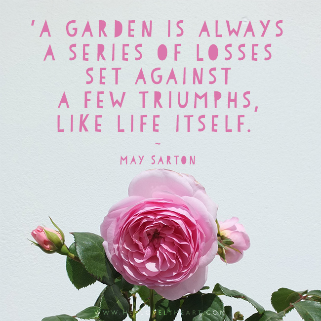 'A garden is always a series of lossess set against a few triumphs. Like life itself.' Find us on Instagram with the hashtag #hlhinstaquotes