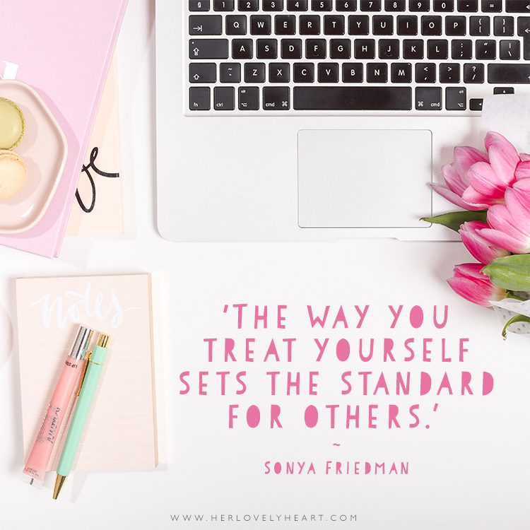 'The way you treat yourself sets the standard for others.' Click through for more quotes, and find us on Instagram at #hlhinstaquotes