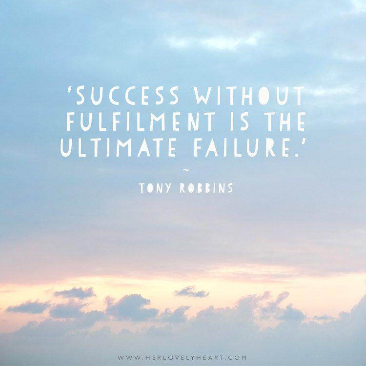 'Success without fulfilment is the ultimate failure.' Click through for more quotes, and find us on Instagram at #hlhinstaquotes
